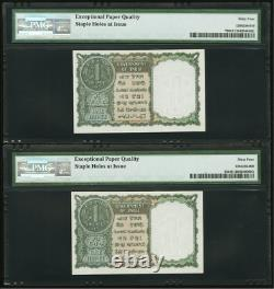 India Government of 1 Rupee 1951 Jhun6.1.2.1 Pick 72 CONSECUTIVE NOTES
