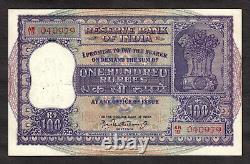 India Large 100 Rupees (1962-67) Birth Date Serial 04-09-79 Pick 45 Nice Grade