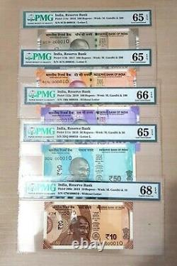 India New 2016 2019 Set Of 500 200 100 50 10 Rupees Gem Unc Low Serial 10 Pmg