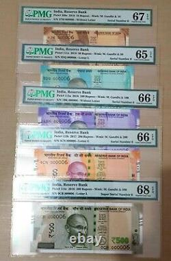 India New 2016 2019 Set Of 500 200 100 50 10 Rupees Gem Unc Low Serial 6 Pmg