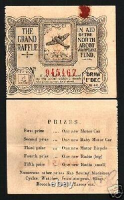 India North Arcot 4 Annas 1940 War Plane Fund Lottery Rare Indian State Item