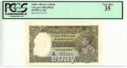 India. P-18b 5 Rupees ND(1943) VF-XF. PCGS 35