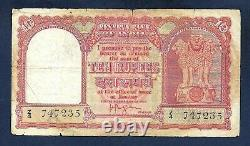 India Persian Gulf 10 Rupees 1959 ND P-R3 Prefix Z/4 Fine+