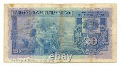 India Portuguesa Banco Nacional Ultramarino 20 Rupias 1945 F #37 Albuquerque