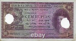 India(Portuguese Colony) 1945 100 Rupees Banknote P. #39 With2 Cancellation Punch