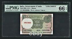 India Republic, 2015, 1 Rupee, Specimen, PMG Gem UNC 66 EPQ, No Sign P 108s note
