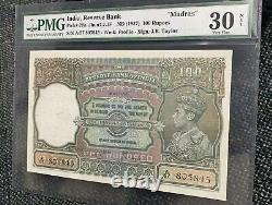 India Reserve Bank, 1937, Pick 20n, 100 Rupees MADRAS PMG 30
