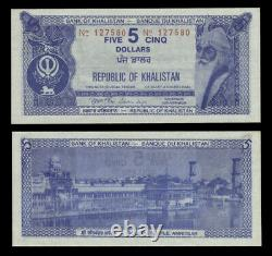 Khalistan 5 Dollars ND(1980) UNC