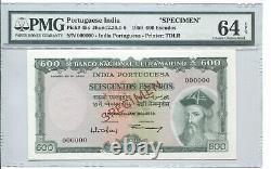 PORTUGUESE INDIA 1959 600 ESCUDOS PICK 45s SPECIMEN PMG 64EPQ