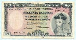 PORTUGUESE INDIA 60 Escudos 1959 P42 VF