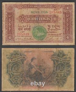 Portuguese India 4 Tangas (VF) Condition Banknote P-19 Nova Goa RARE