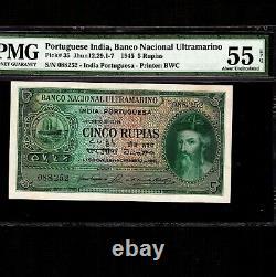 Portuguese India 5 Rupias 1945 P-35 PMG AU 55 EPQ Rare Grade