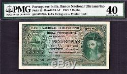 Portuguese India 5 Rupias 1945 Serial ending 786 Pick-35 Extra Fine PMG 40