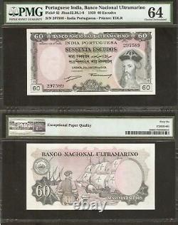 Portuguese India 60 Escudos P42 1959 Ship Unc Pmg 66 Indian Money Bank Note