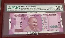 RESERVE BANK OF INDIA 2016 NEW GANDHI 20000 FANCY NO (111111) Pmg 65