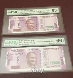 RESERVE BANK OF INDIA 2016 NEW GANDHI 2000 FANCY NO 999999,1000000Pmg 65 And 66