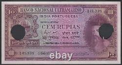 Rare Portugal India Banknote 100 Rupias P39 1945 Unc