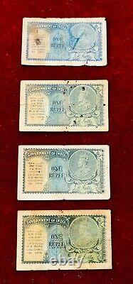 Re 1/- KING GEORGE V Issue Signed By J. W KELLY Issued in 1935! 4 NOTES
