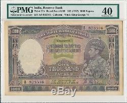 Reserve Bank India 1000 Rupees ND(1937) Prefix A/0 Calcutta George VI PMG 40