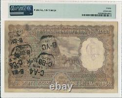 Reserve Bank India 1000 Rupees ND(1954-57) Calcutta. Rare type PMG 20