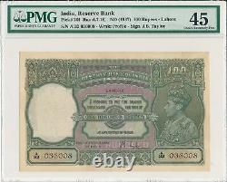 Reserve Bank India 100 Rupees ND(1937) Lahore. Very Rare PMG 45