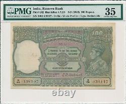 Reserve Bank India 100 Rupees ND(1943) Delhi PMG 35