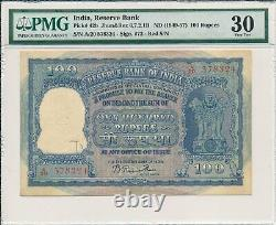 Reserve Bank India 100 Rupees ND(1949-57) Red S/No PMG 30