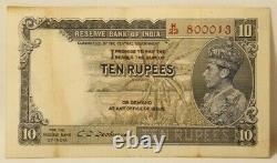 Reserve Bank of India British India Ten Rupees Signed by CD Deshmukh 1937 P#19B
