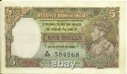 Reserve Bank of India ND 1943 British 5 Rupees Deshmukh King George VI VF+/ EF
