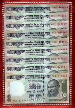 Rs 100/- SOLID NUMBER SET Previous Issue 111111 999999 GEM UNC