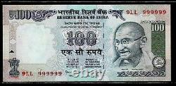Rs 100/- SUPER SOLID NUMBER SET 9LL 999999 UNC VERY UNIQUE PREV ISSUE