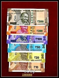 Rs 10,20,50,100,200,500 SOLID NUMBER 1000000 (1 Million) Set UNC India