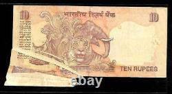 Rs 10/- India Banknote Massive ERROR HEAVY CREASE AND EXTRA PAPER
