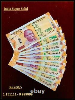 Rs 200/- Super Solid 1 111111 9 999999 India Banknote Latest UNIQUE RARE LTD