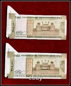 Rs 500/-India Banknote Misprint/Error EXTRA PAPER LATEST ISSUE 2 Notes Sequence