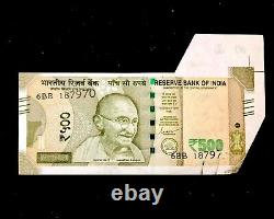 Rs 500/-India Banknote Misprint/Error EXTRA PAPER LATEST ISSUE HUGE RARE