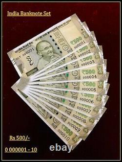 Rs 500/- Low Serial Set 000001 000010 GEM UNC UNIQUE