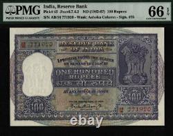 Tt Pk 45 1962-67 India 100 Rupees Pmg 66 Epq Gem Uncirculated None Finer