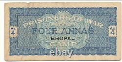 WWII British India Prisoner of War Scrip Bhopal 4 Anna Rare
