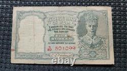 XTRA RARE British India 5 Rs RED SERIAL KGVI Front Face C. D. Deshmukh